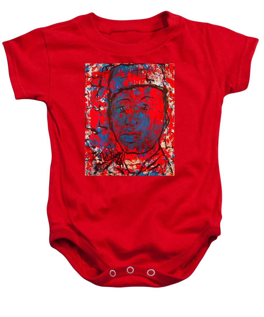 Man Baby Onesie featuring the painting Red White And Blue by Natalie Holland