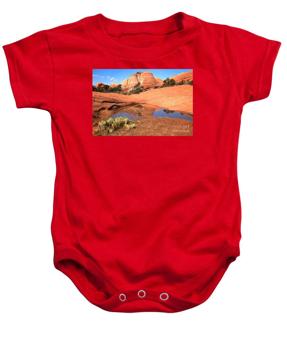 Yant Flat Reflections Baby Onesie featuring the photograph Reflections After The Storm by Adam Jewell