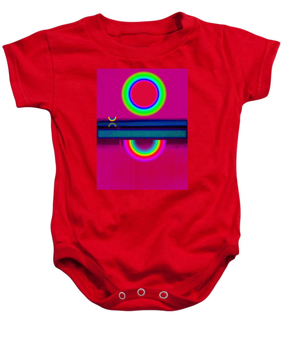 Reflections Baby Onesie featuring the painting Reflections On A Glass Lake by Charles Stuart