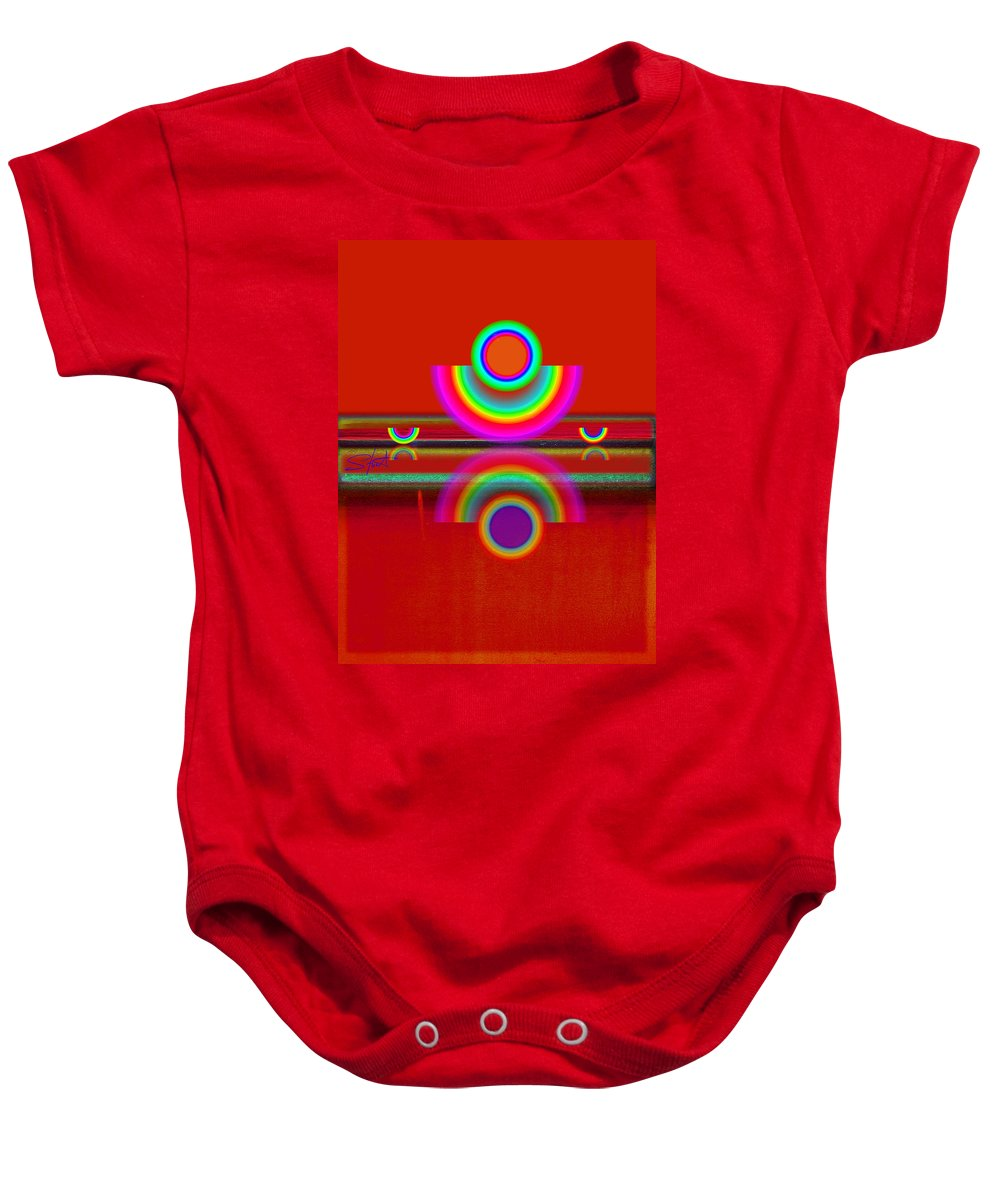Reflections Baby Onesie featuring the painting Reflections On Red by Charles Stuart
