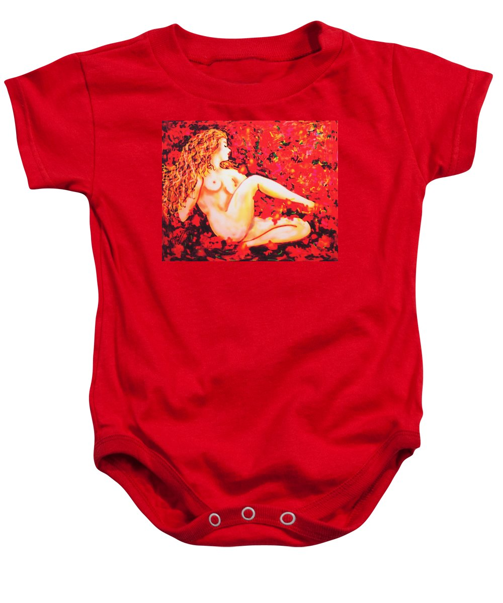 Nudes Baby Onesie featuring the painting Romantic Moment by Natalie Holland