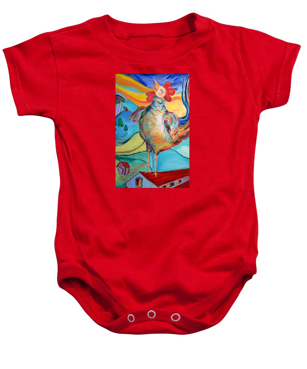 Joy Baby Onesie featuring the painting Rooster Crows -- Joy Arising by Gloria Avner
