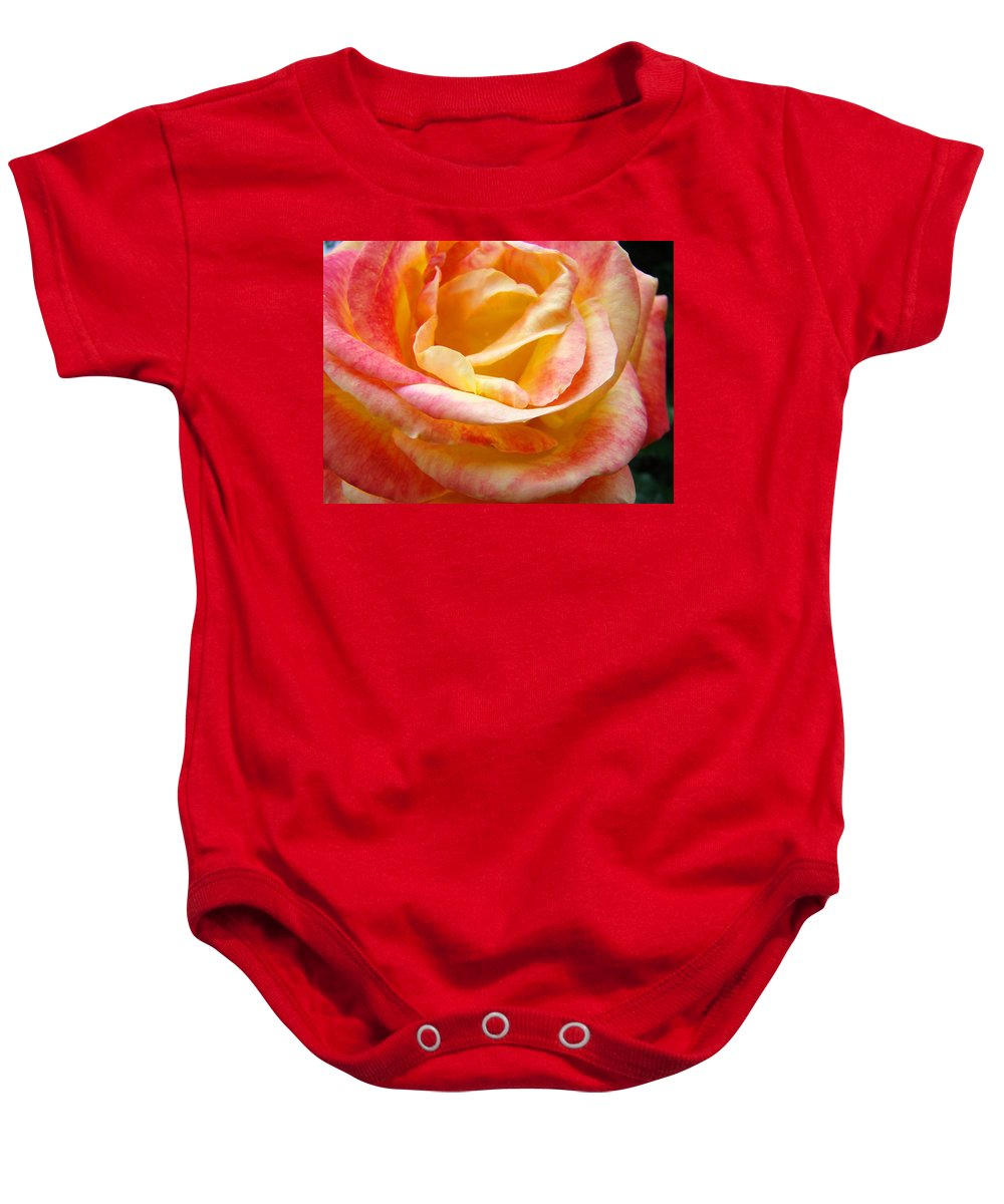 Rose Baby Onesie featuring the photograph Rose Art Pink Yellow Summer Rose Floral Baslee Troutman by Baslee Troutman