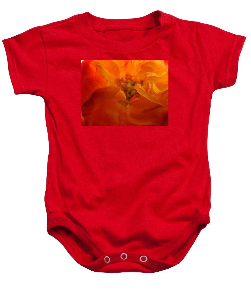 Rose Baby Onesie featuring the photograph Rose Flower Orange Glowing Rose Giclee Baslee Troutman by Baslee Troutman