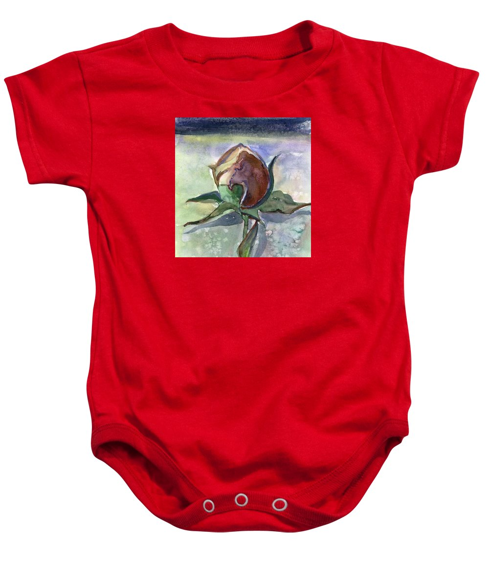 Rose Baby Onesie featuring the painting Rose in the Snow by Mindy Newman