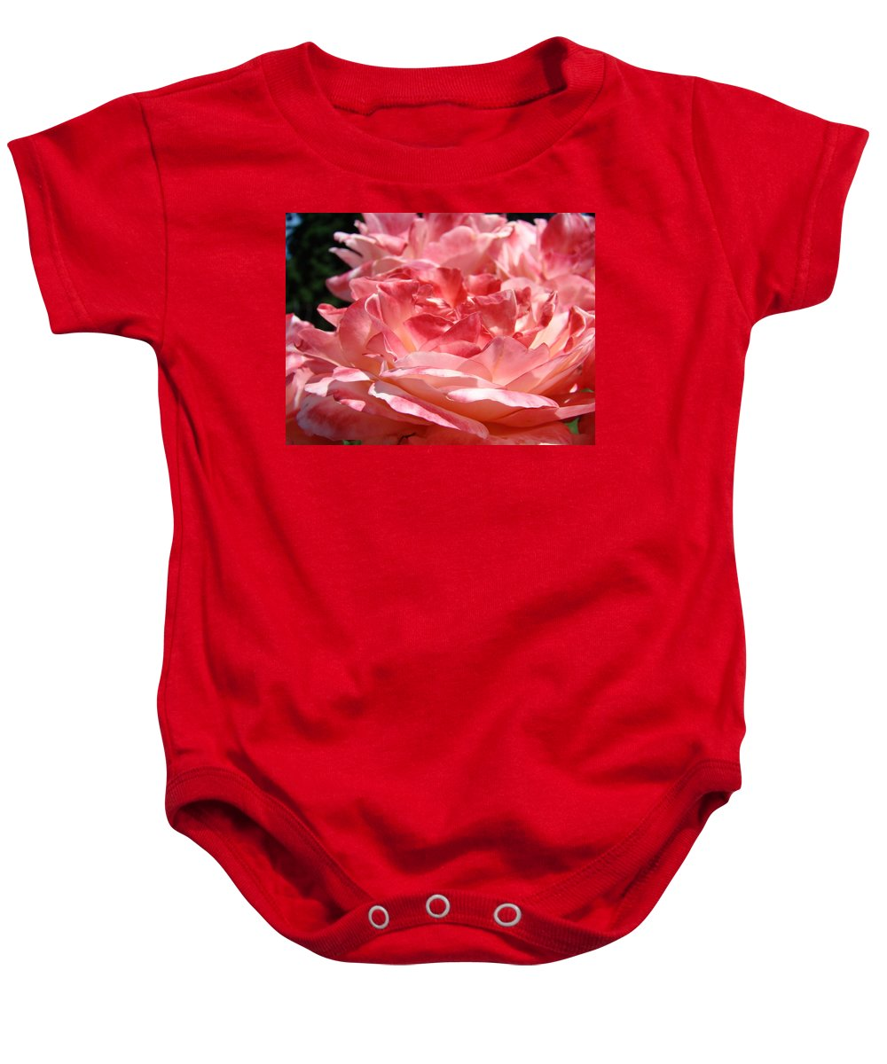 Rose Baby Onesie featuring the photograph Roses Cinnamon Pink Rose Flowers 3 Rose Garden Art Baslee Troutman by Baslee Troutman