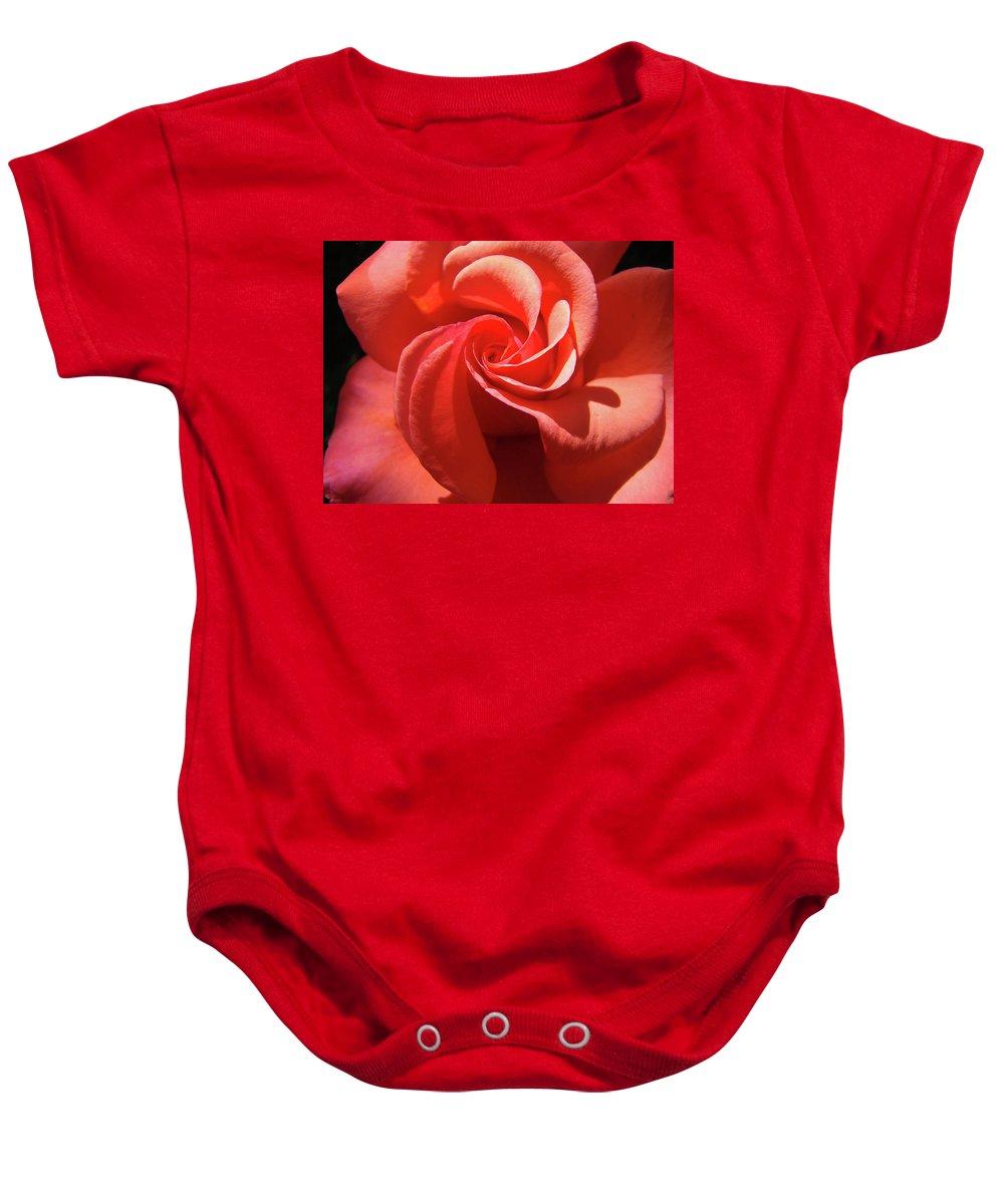 Rose Baby Onesie featuring the photograph Roses Orange Rose Flower Spiral Artwork 4 Rose Garden Baslee Troutman by Baslee Troutman