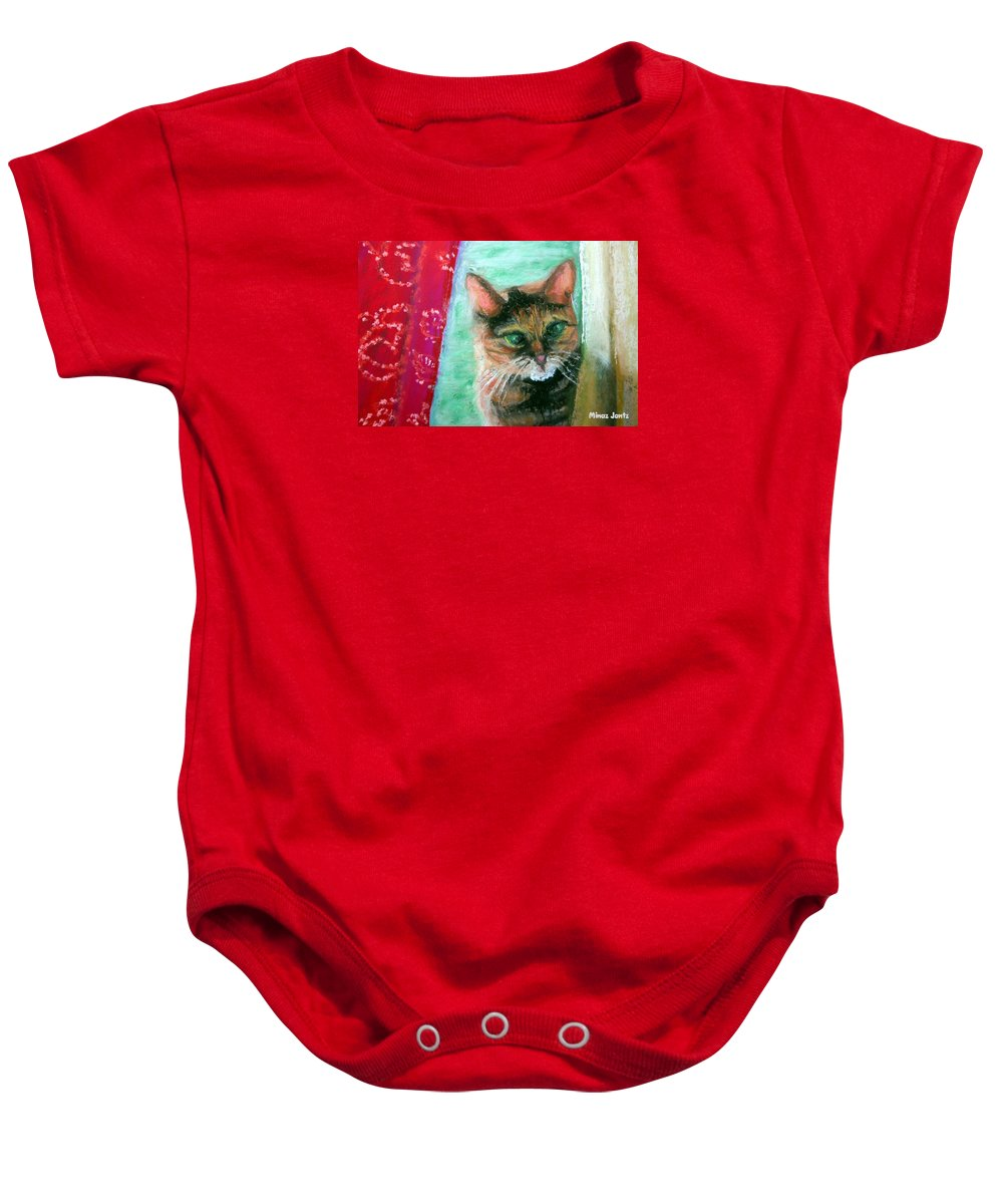 Cat Baby Onesie featuring the painting Rosy in Color by Minaz Jantz