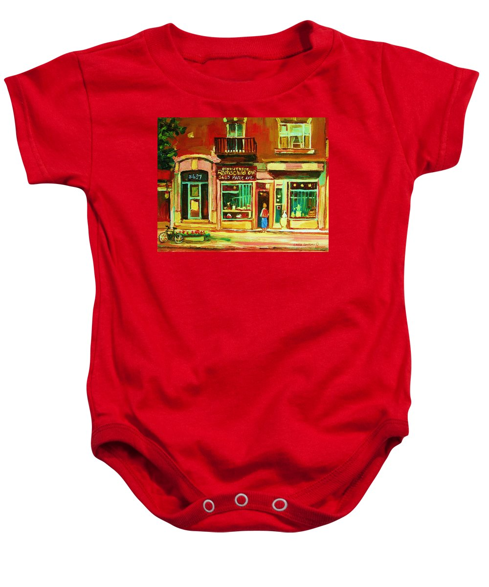 Montreal Baby Onesie featuring the painting Rothchilds Jewellers On Park Avenue by Carole Spandau