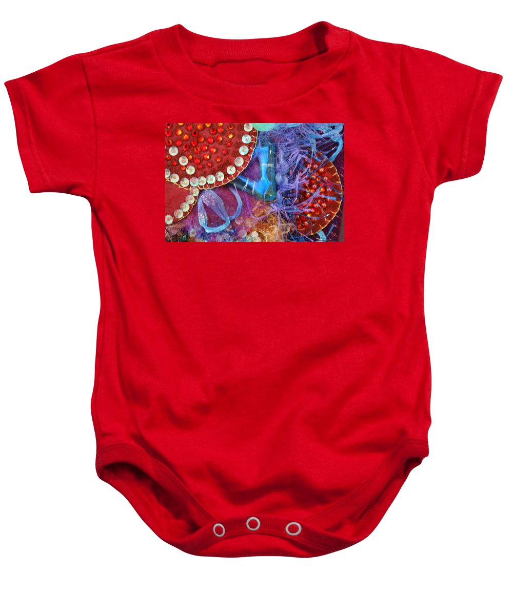 Baby Onesie featuring the mixed media Ruby Slippers 7 by Judy Henninger