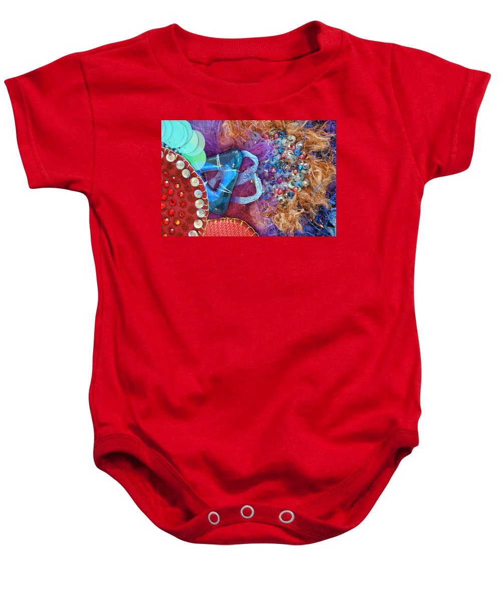 Baby Onesie featuring the mixed media Ruby Slippers 8 by Judy Henninger