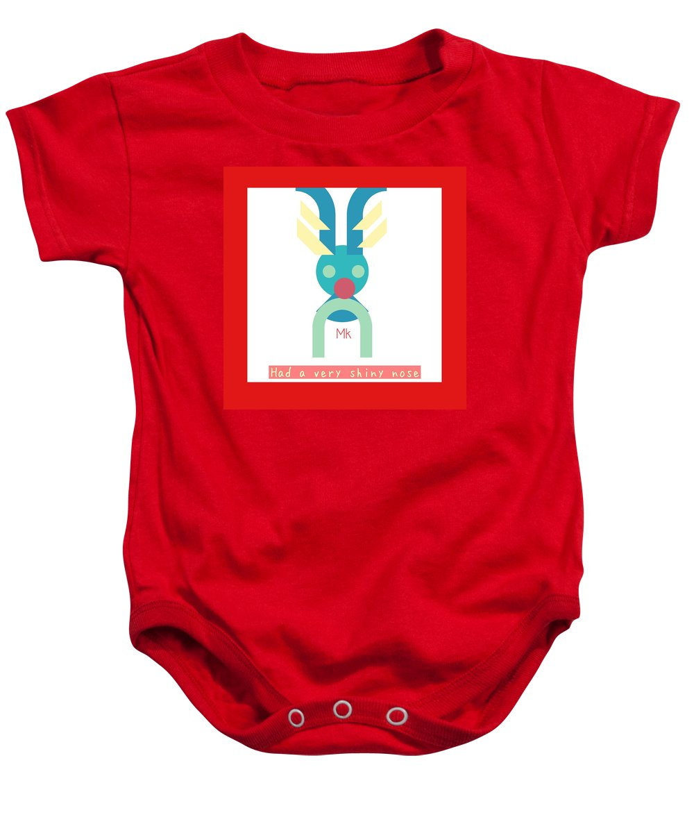 Christmas Baby Onesie featuring the digital art Rudolph by Mary Jo Hopton