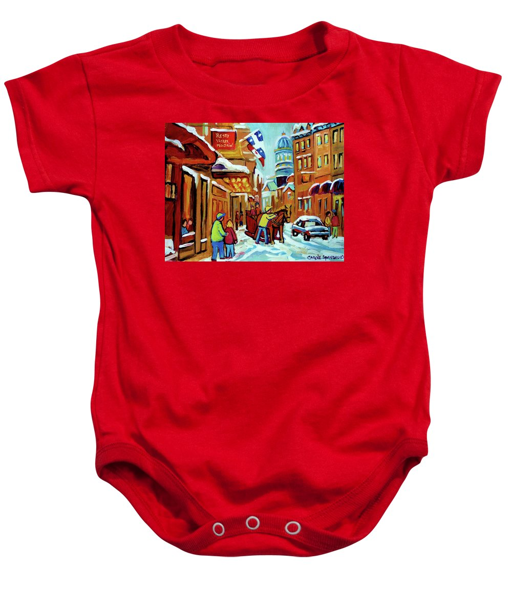 Montreal Baby Onesie featuring the painting Rue St Paul Montreal Streetscene Cafes And Caleche by Carole Spandau