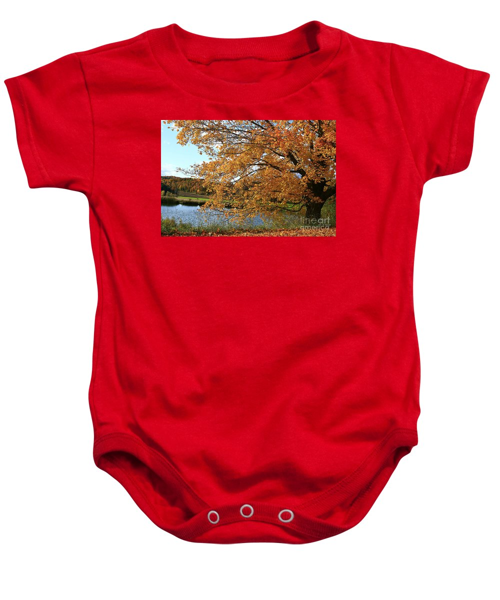 Rural Baby Onesie featuring the photograph Rural Autumn Country Beauty by Deborah Benoit