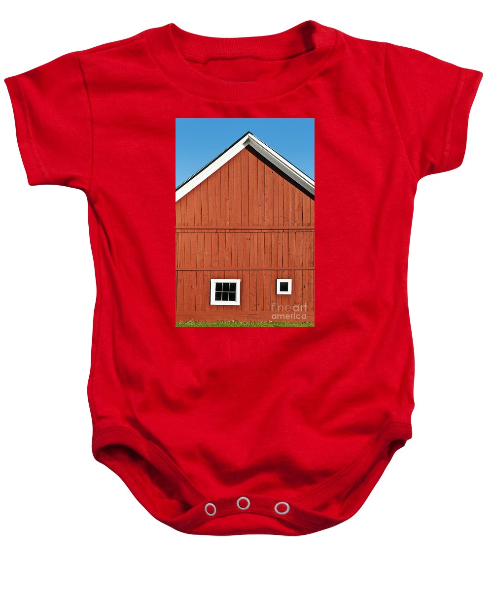 Grafton Baby Onesie featuring the photograph Rustic Red Barn by John Greim
