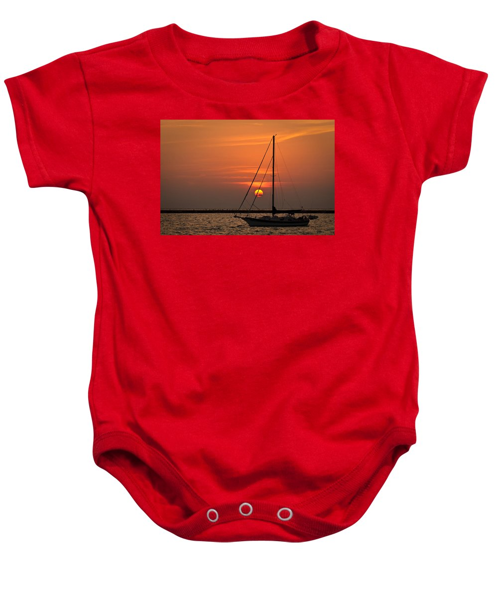 Boat Baby Onesie featuring the photograph Sailboat Sunrise Chicago by Steve Gadomski