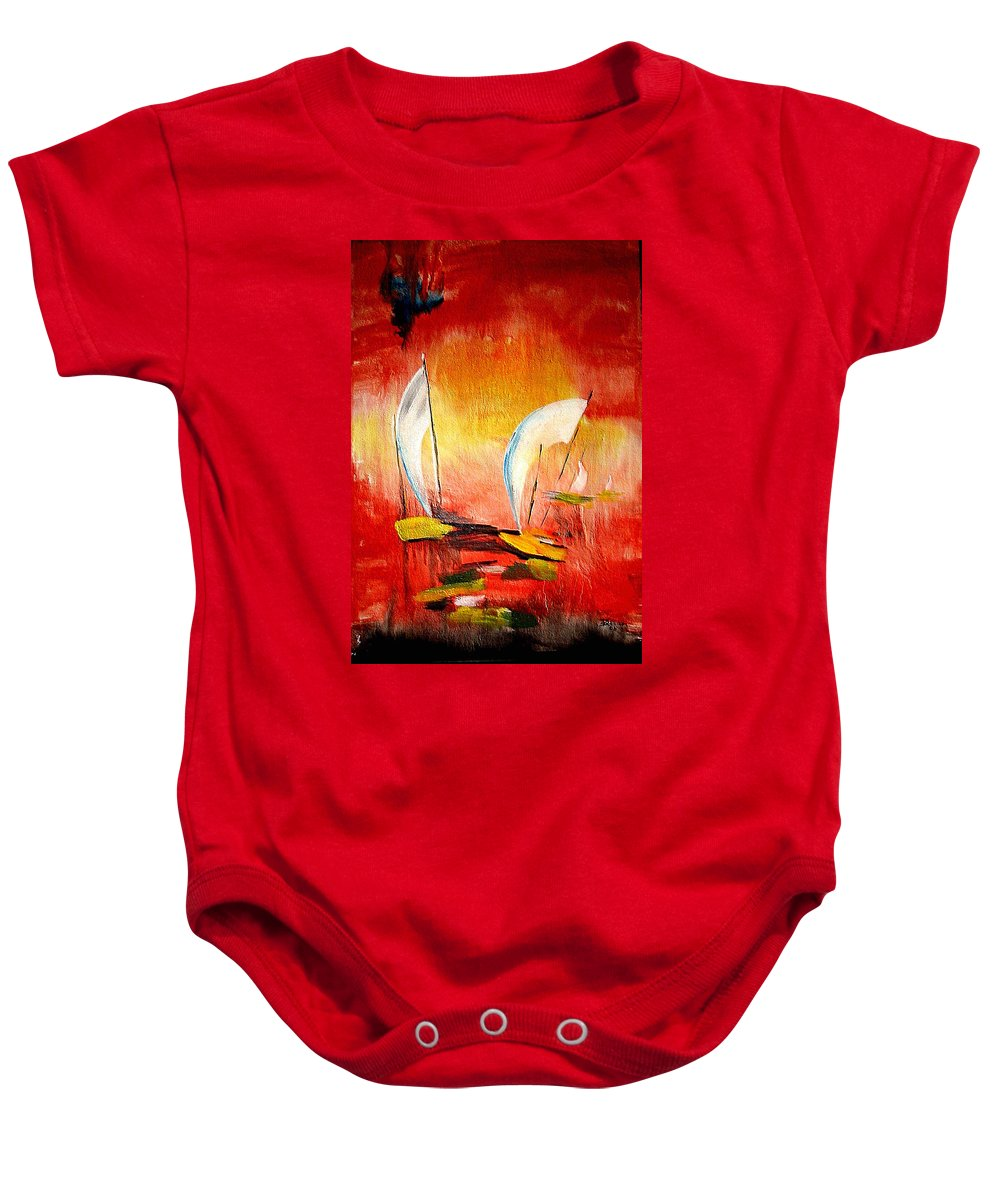 Sailboats Baby Onesie featuring the painting Sailboats by Dragica Micki Fortuna