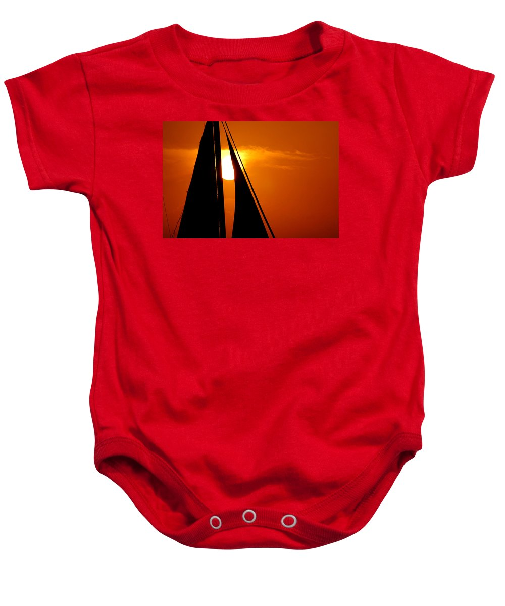 Photography Baby Onesie featuring the photograph Sailing Into The Sunset by Susanne Van Hulst