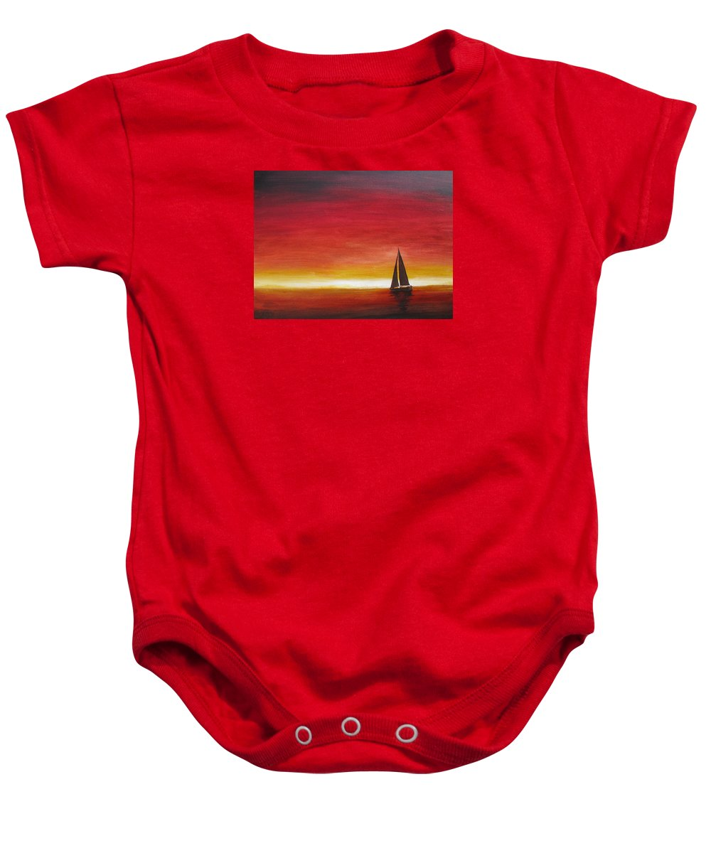 Sunset Baby Onesie featuring the painting Sailors Delight by Karen Stark