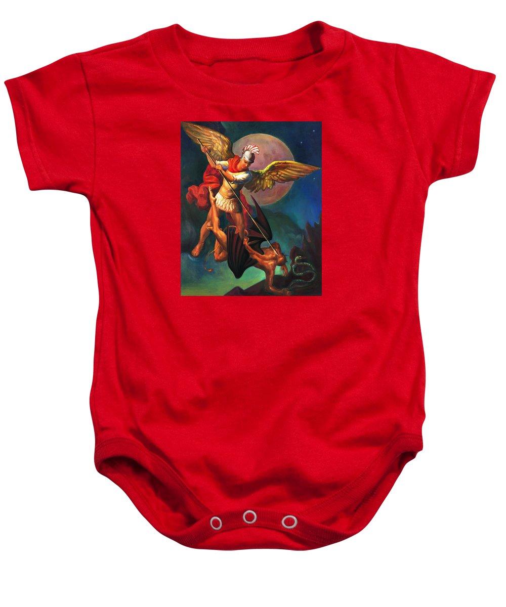 Bible Baby Onesie featuring the painting Saint Michael The Warrior Archangel by Svitozar Nenyuk