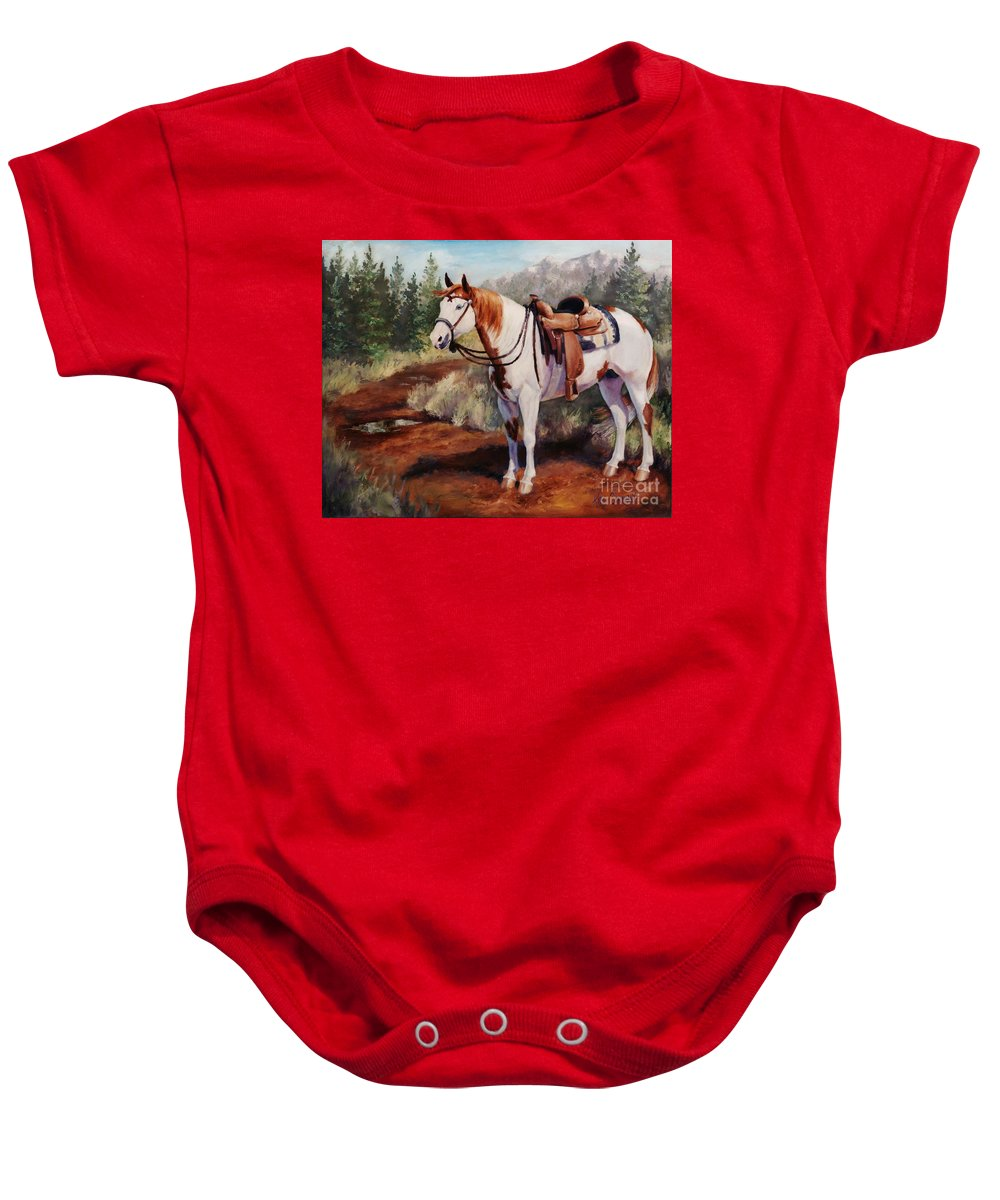 Horse Baby Onesie featuring the painting Saint Quincy Paint Horse Portrait Painting by Kim Corpany