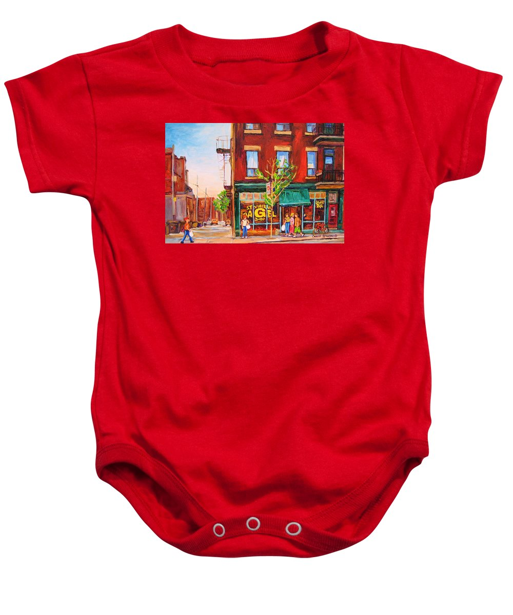 Montreal Baby Onesie featuring the painting Saint Viateur Bagel by Carole Spandau