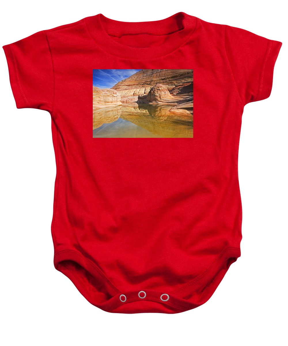 Pool Baby Onesie featuring the photograph Sandstone Illusions by Mike Dawson