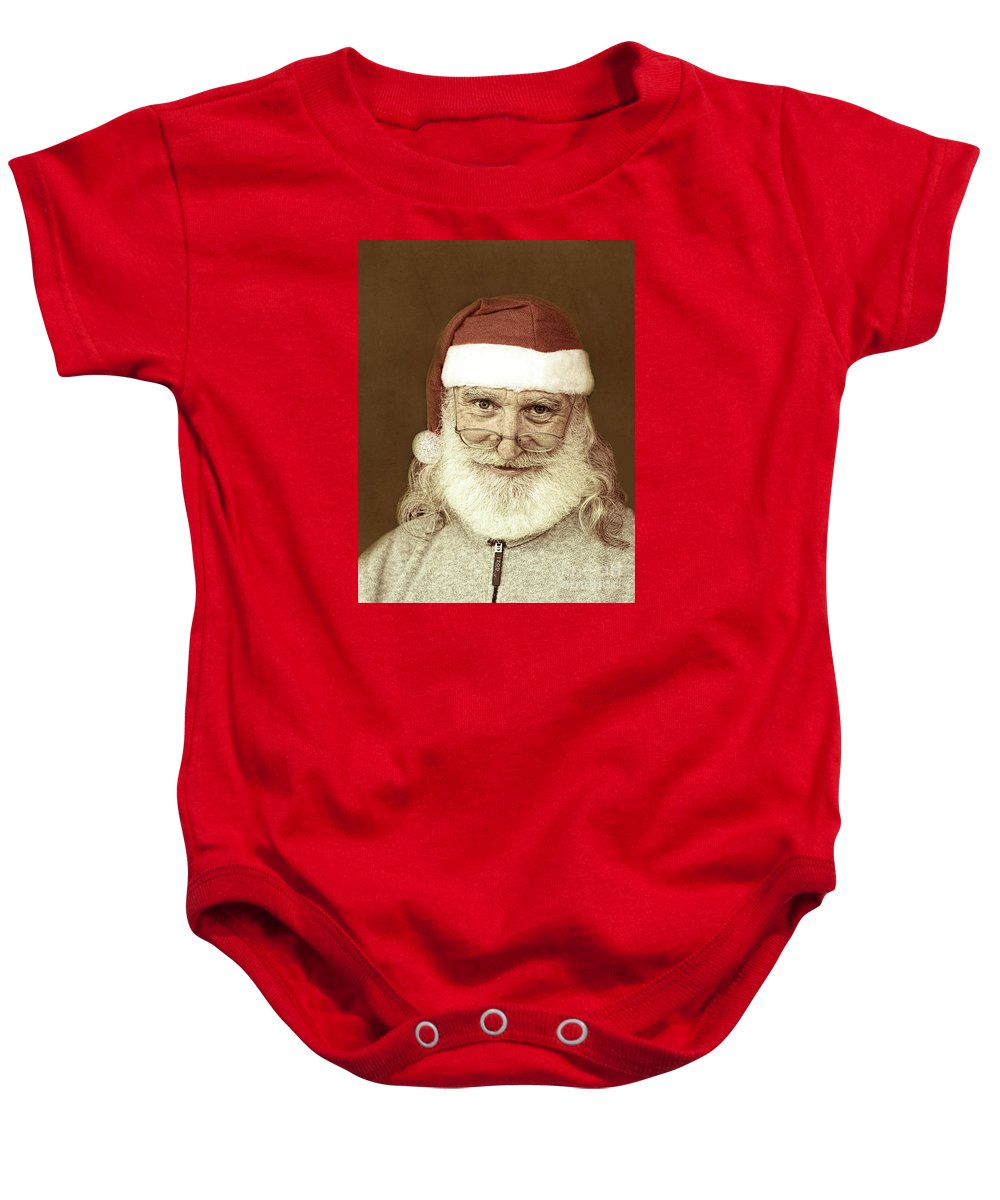 Travel Baby Onesie featuring the photograph Santa's Day Off by Linda Phelps