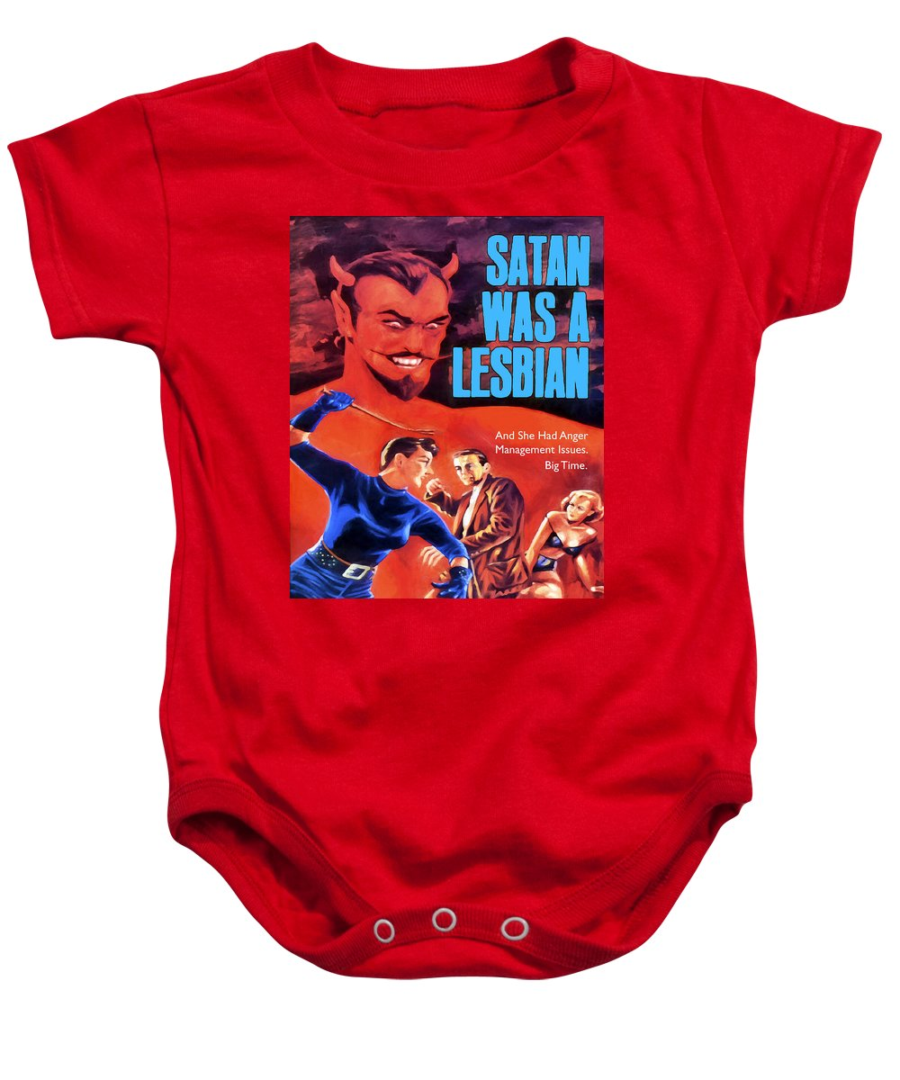 Satan Baby Onesie featuring the painting Satan Was A Lesbian by Dominic Piperata
