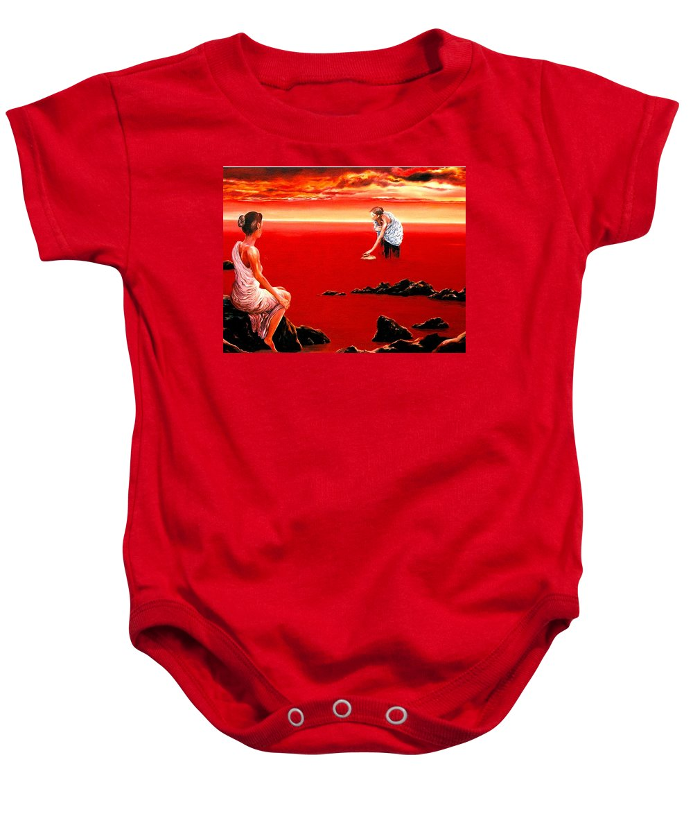 Red Baby Onesie featuring the painting Scarlet Evening In December by Mark Cawood