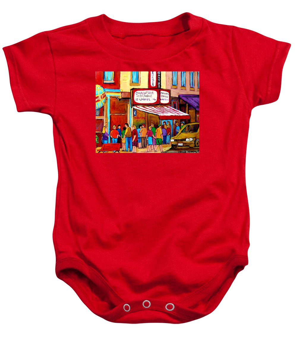 Schwartzs Deli Baby Onesie featuring the painting Schwartzs Hebrew Deli Montreal Streetscene by Carole Spandau