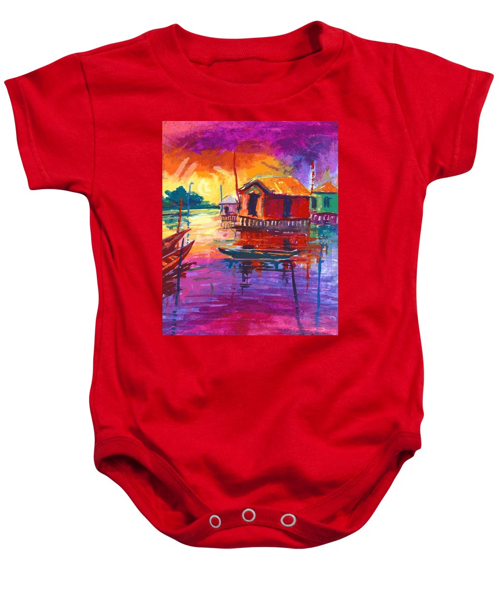 Water Baby Onesie featuring the painting Seascape by Okemakinde John abiodun