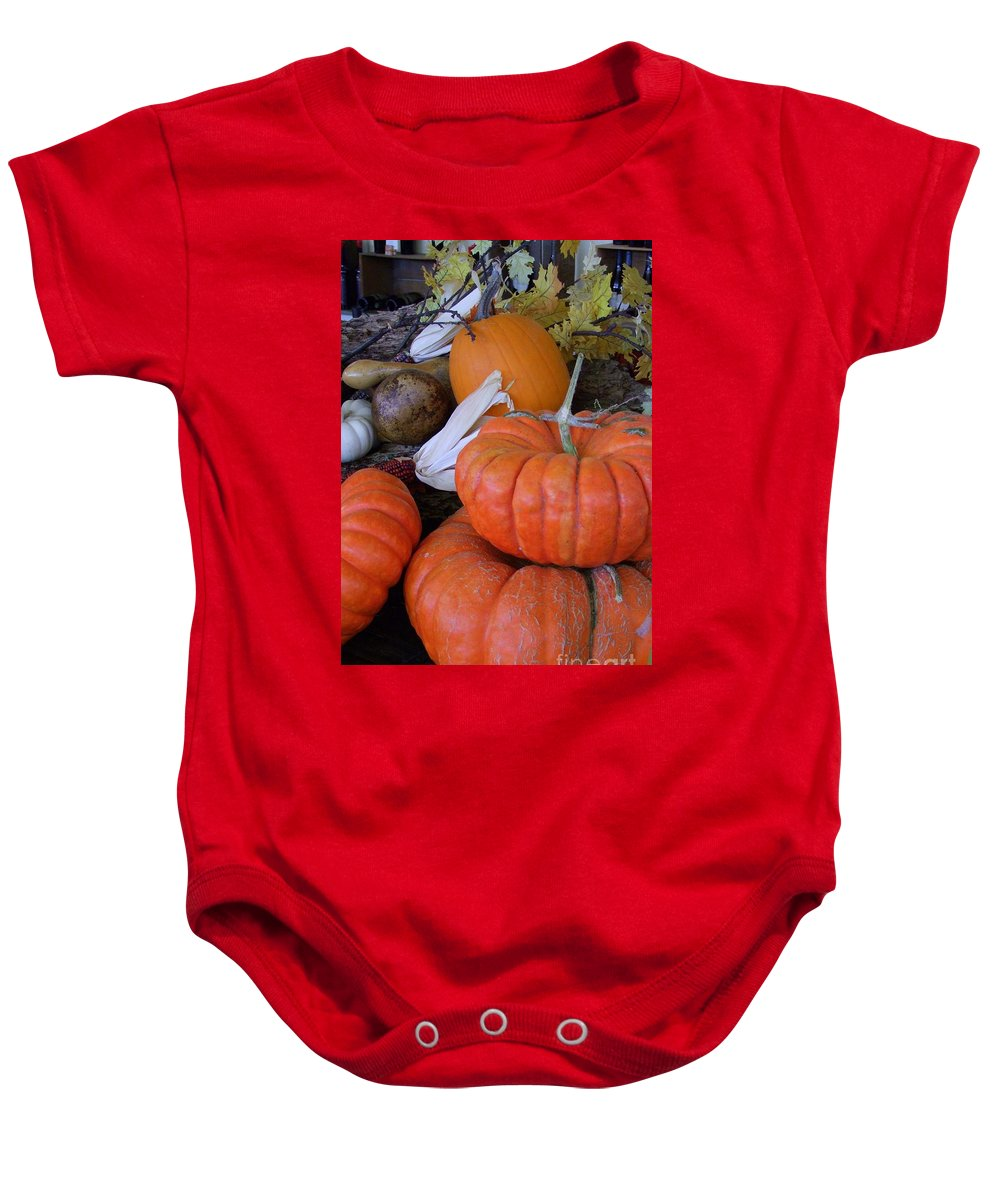 Orange Baby Onesie featuring the photograph Seasonal Giants by Mary Deal