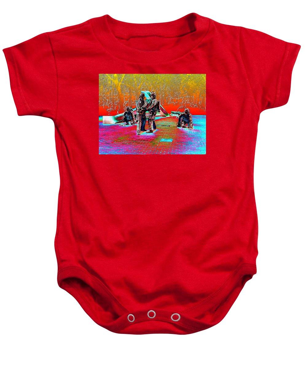 Seattle Baby Onesie featuring the digital art Seattle Fire Fighter Memorial by Tim Allen