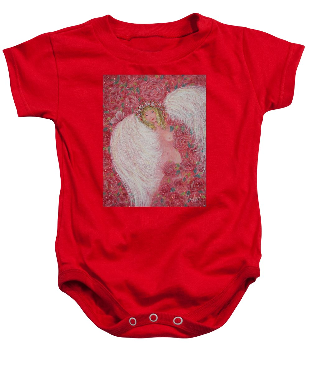 Angel Baby Onesie featuring the painting Secret Garden Angel 6 by Natalie Holland