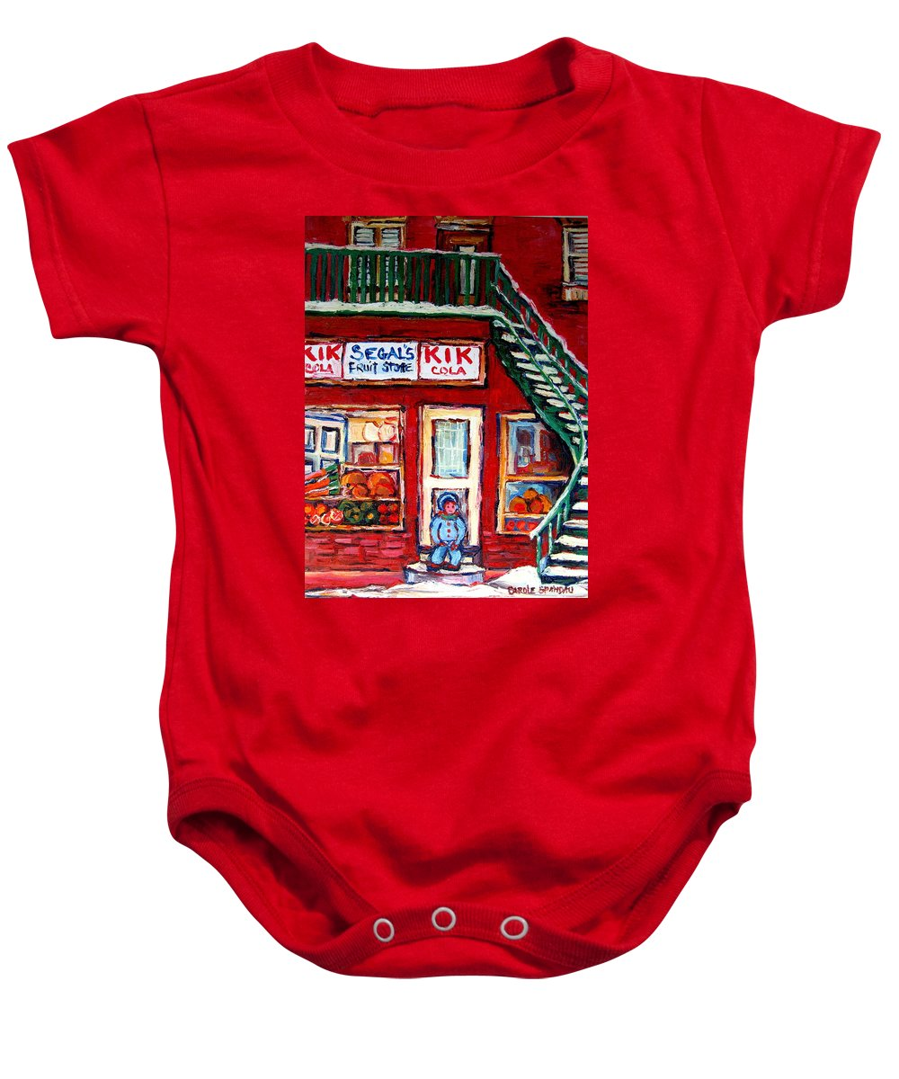 Segal Baby Onesie featuring the painting Segal's Market St.lawrence Boulevard Montreal by Carole Spandau