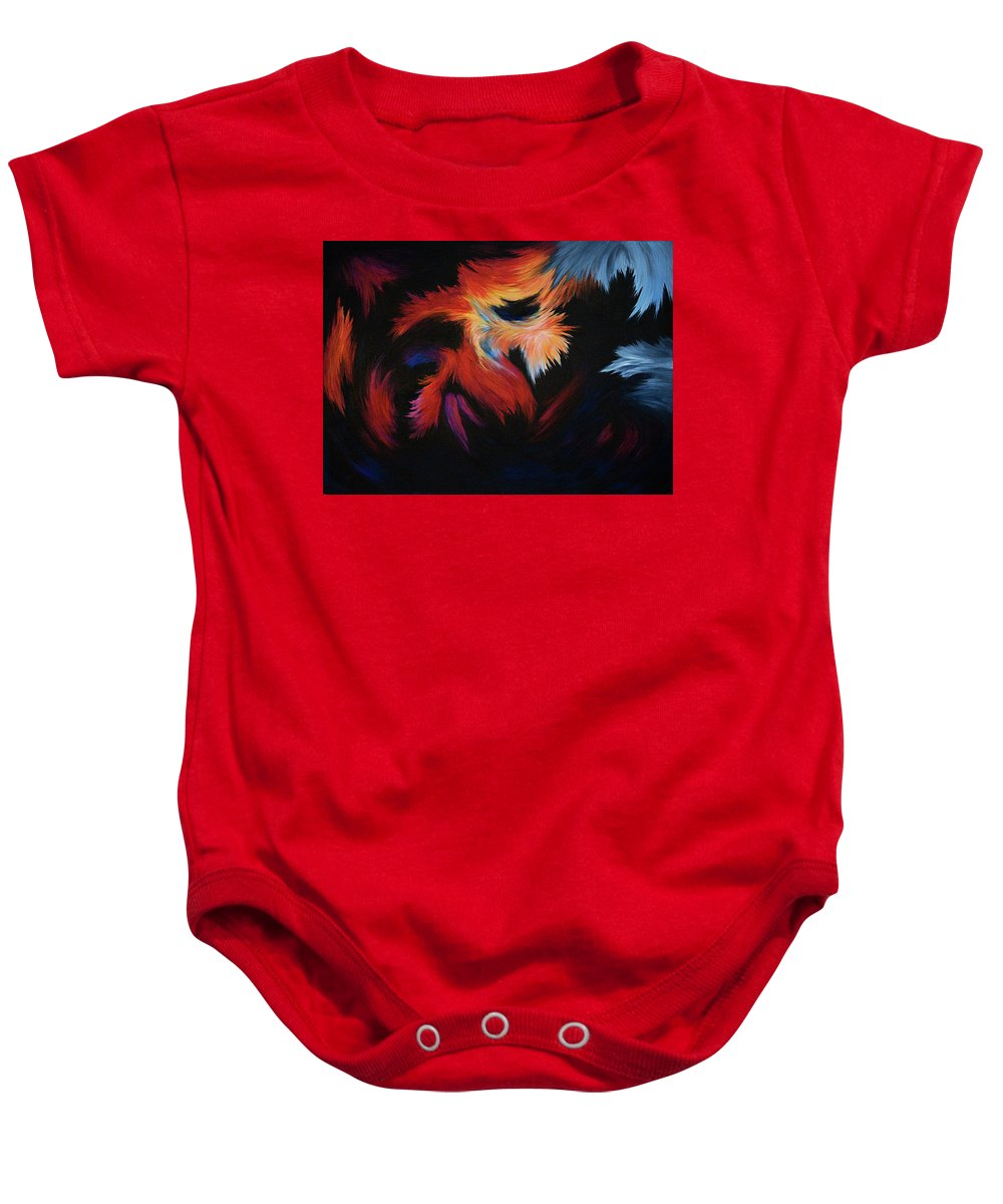 Abstract Baby Onesie featuring the painting Seizure by Rachel Christine Nowicki