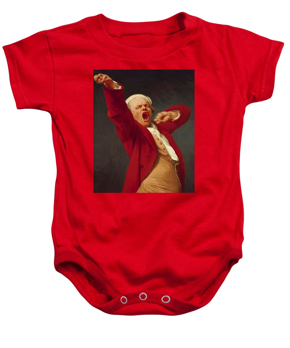 Self Baby Onesie featuring the painting Self Portrait Yawning 1783 by Ducreux Joseph