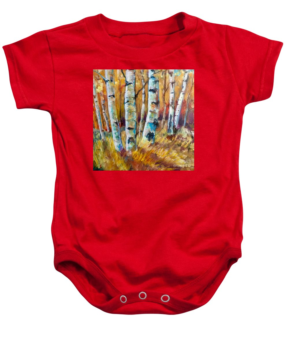 Aspen Baby Onesie featuring the painting September Aspen by Lorraine Danzo