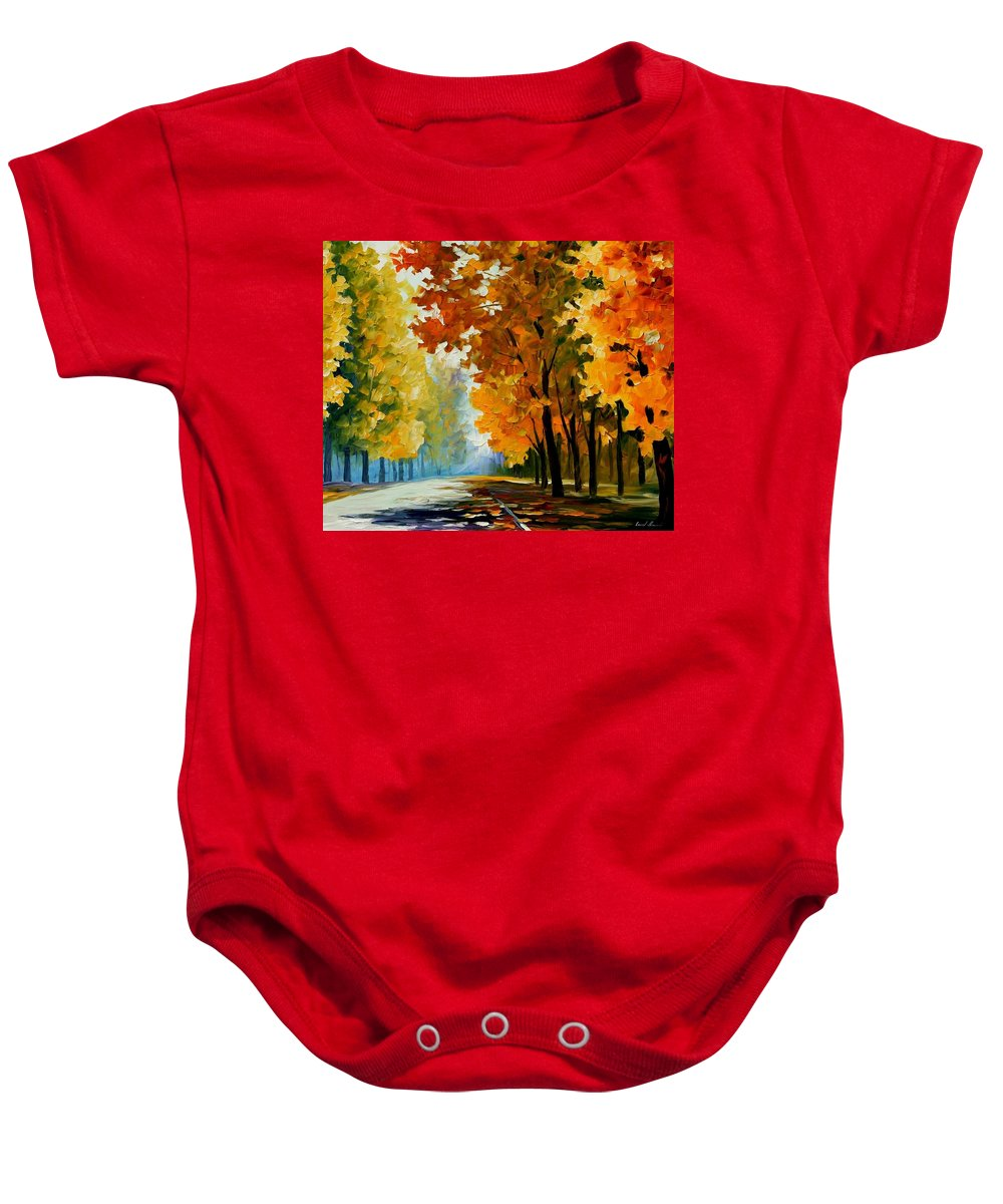 Afremov Baby Onesie featuring the painting September Morning by Leonid Afremov