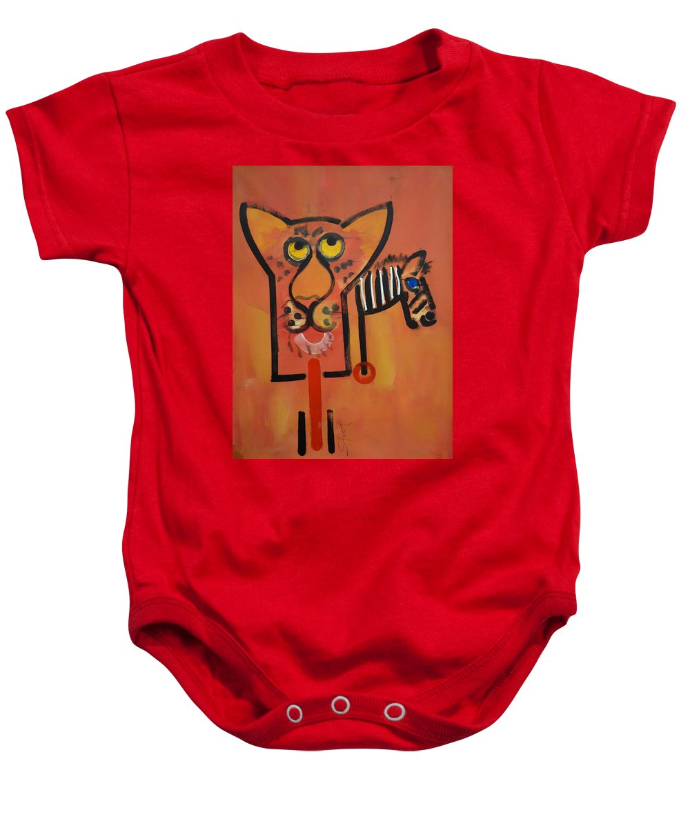 Big Cat Baby Onesie featuring the painting Serengeti Cat by Charles Stuart