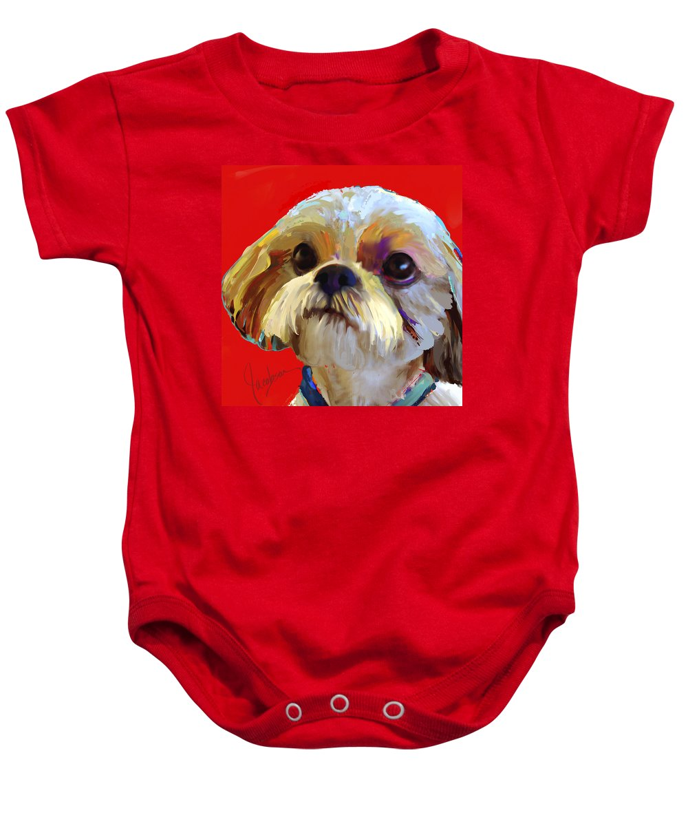Shih Tzu Baby Onesie featuring the painting Shih Tzu 2 by Jackie Jacobson