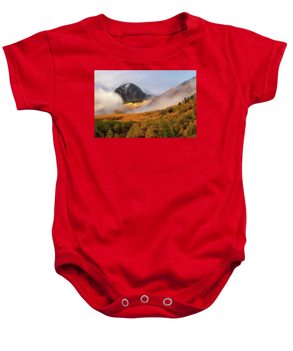 Colorado Baby Onesie featuring the photograph Siever's Mountain by Steve Stuller