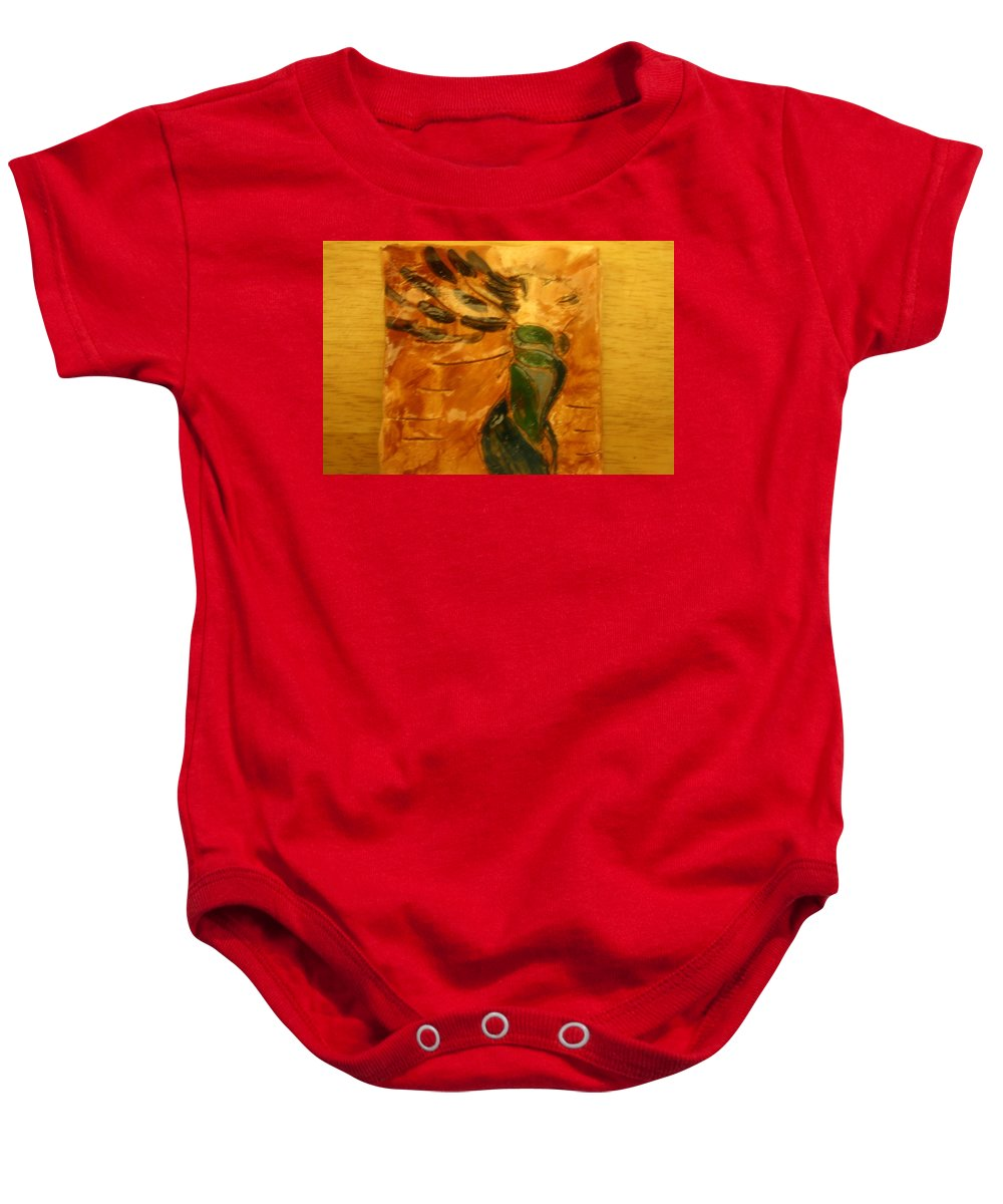 Jesus Baby Onesie featuring the ceramic art Sigh - Tile by Gloria Ssali
