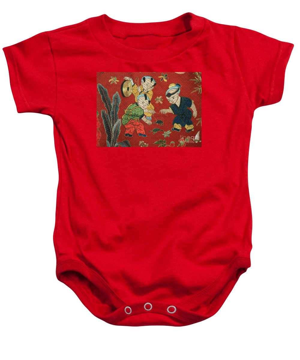 Children Playing Baby Onesie featuring the photograph Silk Robe - Children Playing With Turtle by Carol Groenen