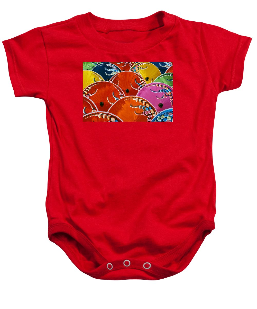 Art Baby Onesie featuring the photograph Silk Umbrella Factory by Gloria & Richard Maschmeyer - Printscapes