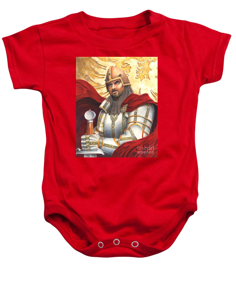 Swords Baby Onesie featuring the drawing Sir Gawain by Melissa A Benson
