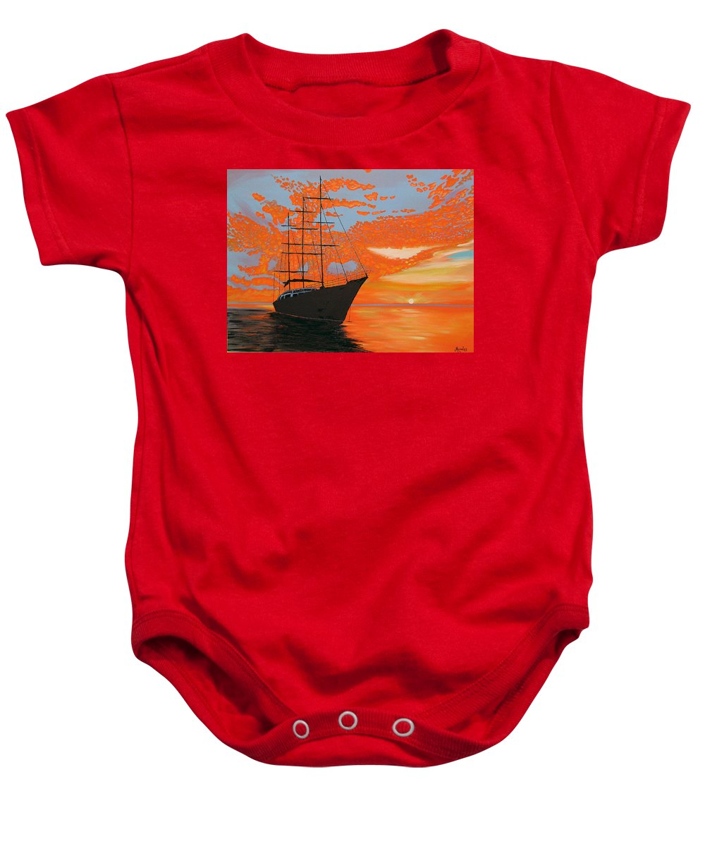 Seascape Baby Onesie featuring the painting Sittin' On The Bay by Marco Morales