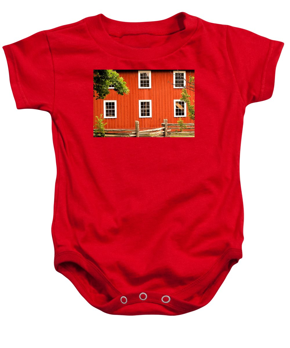 Red Wall Baby Onesie featuring the photograph Six Windows by Ian MacDonald