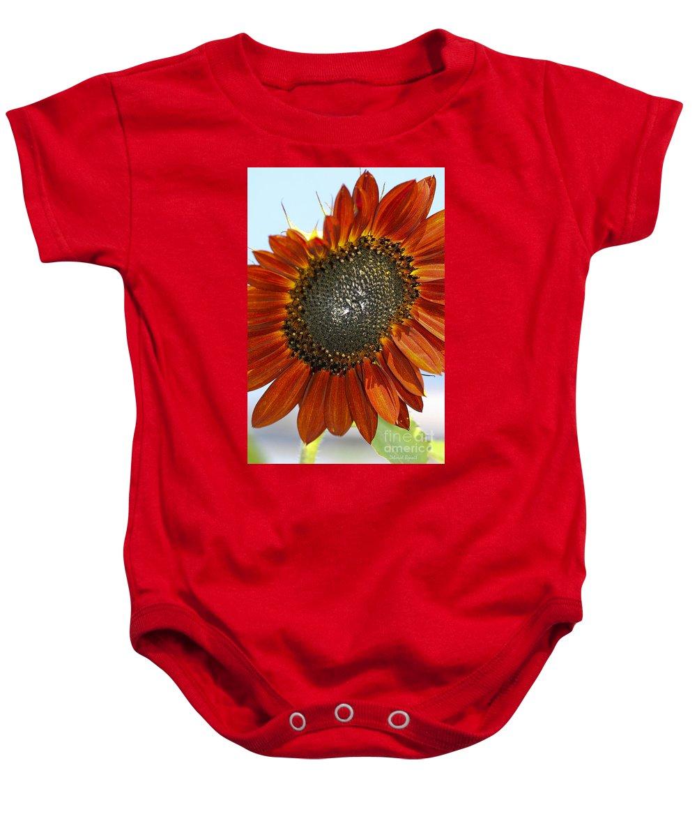 Sun Flower Baby Onesie featuring the photograph Sizzling Hot Sun Flower by Deborah Benoit